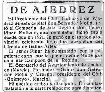 Carta de Pedro Pinar a Salvador Mollá, La Verdad, noviembre de 1926 (1)