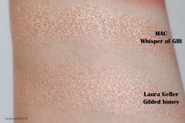 MAC Whisper of Gilt vs Laura Geller Gilded Honey