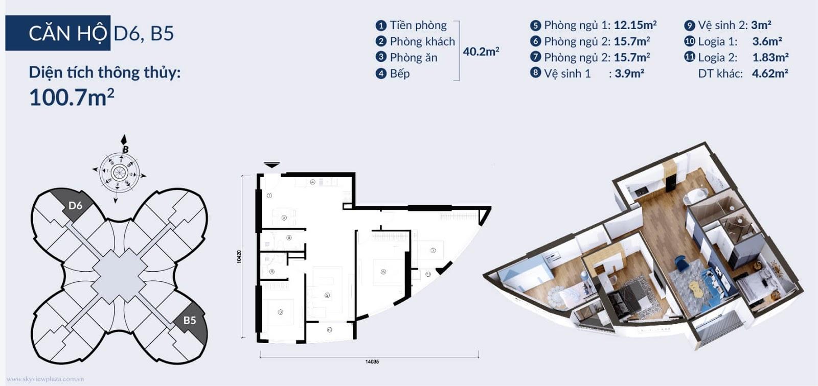 Chi tiết căn  D6 B5 dự án chung cư Sky View Plaza Giải Phóng