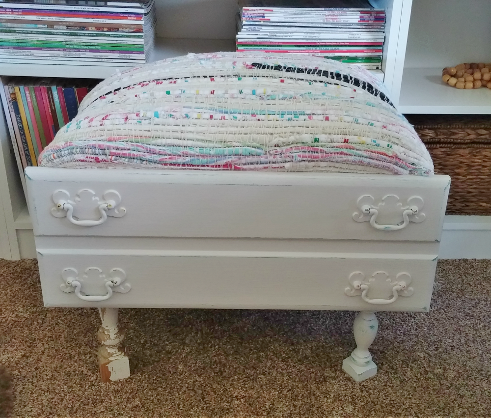 upcycled drawer footstool