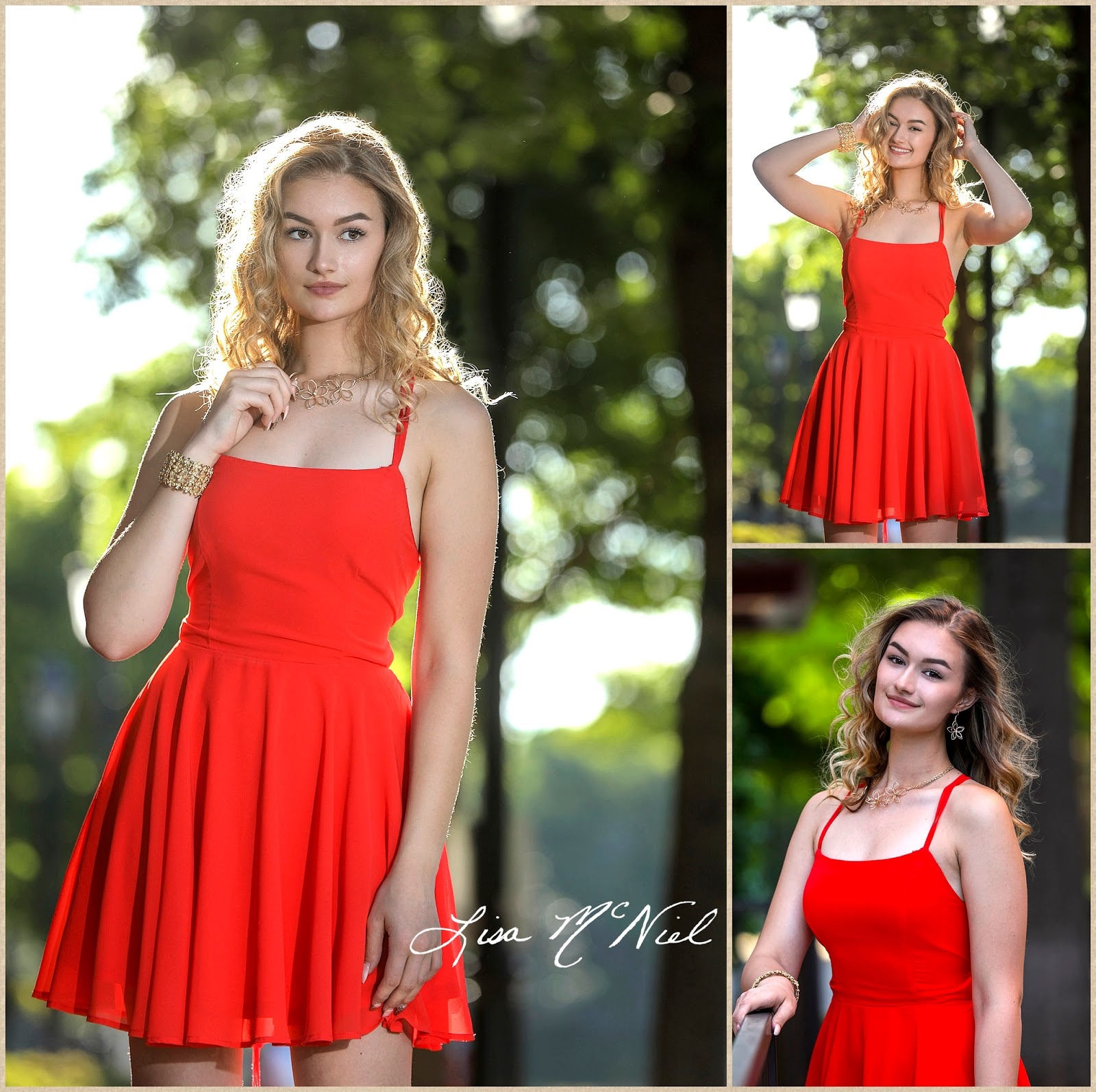 pretty teen girl in red dress backlit