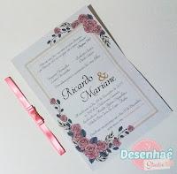 Convite com Flores para Aniversário