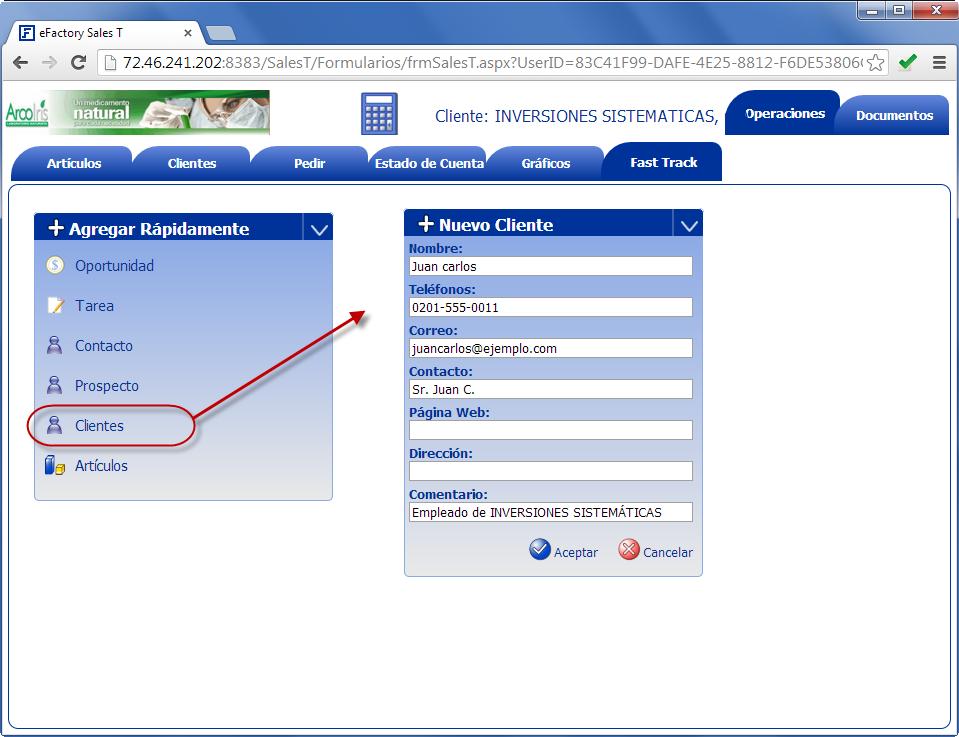 Sales T: Nuevo cliente desde Fast Track - Productos Web de eFactory para Móviles y Tabletas