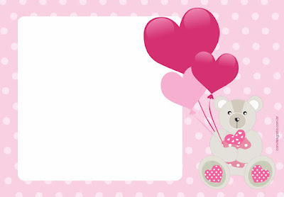 convite ursinha rosa gratis