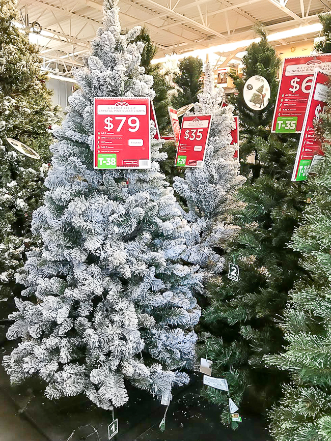Affordable flocked Christmas trees from Walmart
