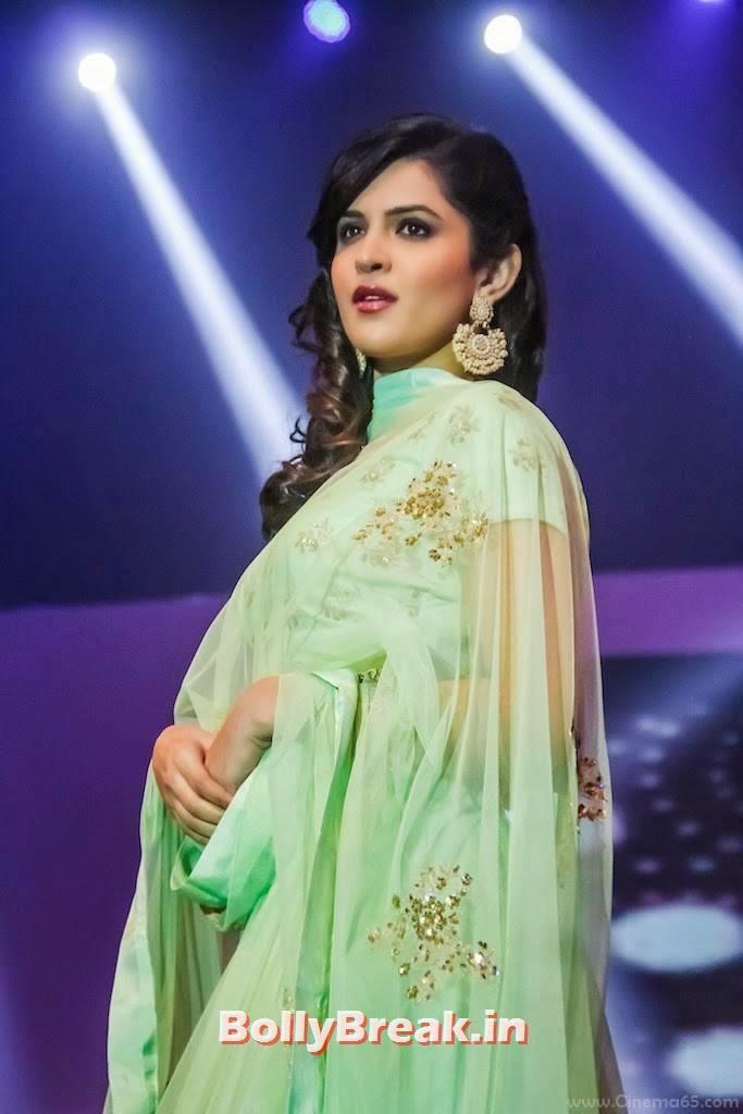 Telugu Actress Deeksha Seth, Deeksha Seth in Green anarkali Dress - Ramp Walk Pics