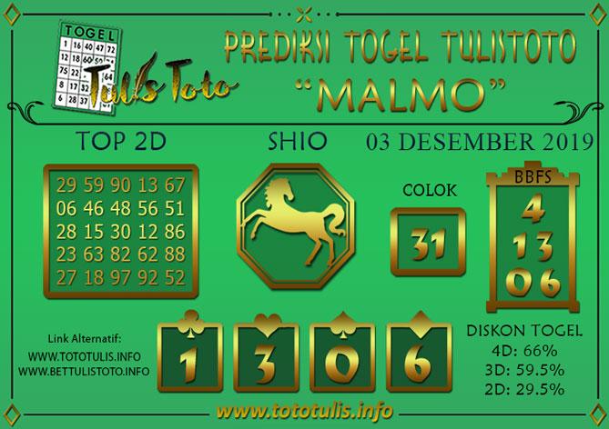 Prediksi Togel MALMO TULISTOTO 03 DESEMBER 2019