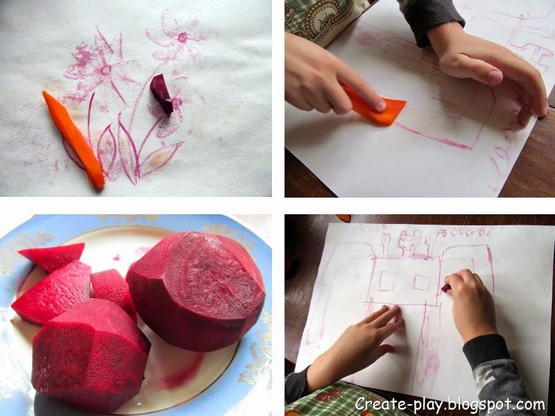рисуем свеклой, морковкой