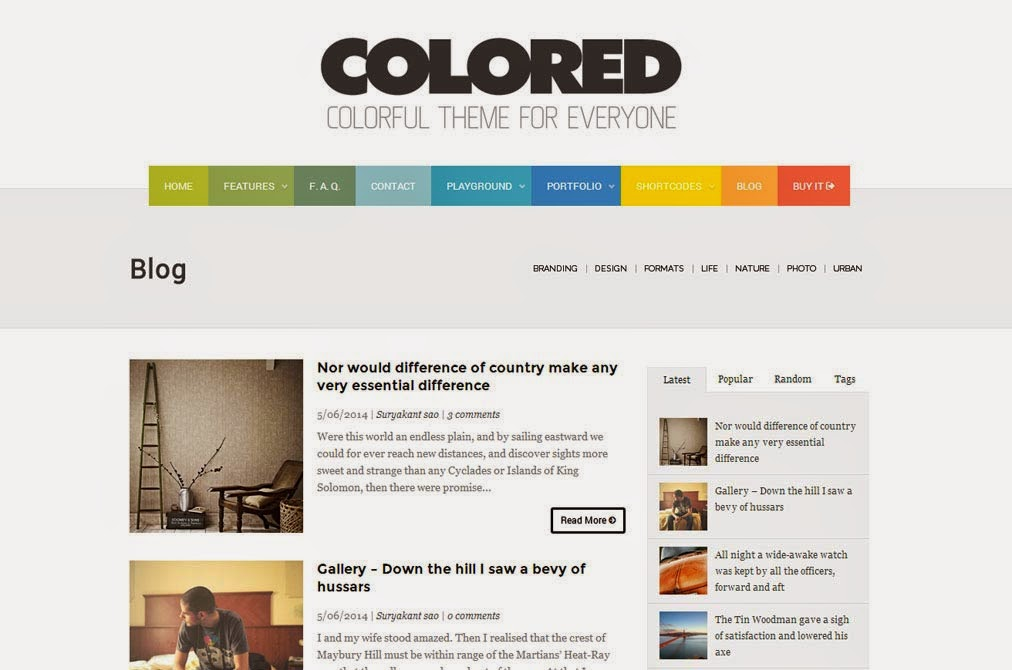 Colored Free Blogger Template