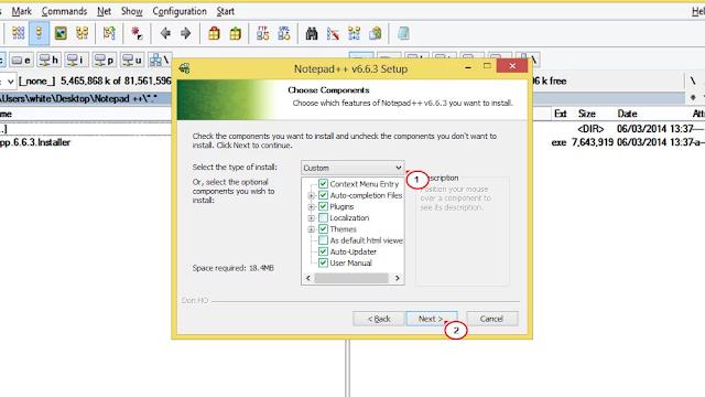 اعدادات التثبيت برنامج Notepad plus plus