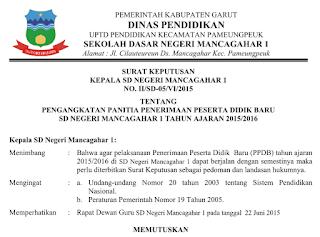 Contoh Surat Keputusan (SK) Kepala Sekolah Lengkap