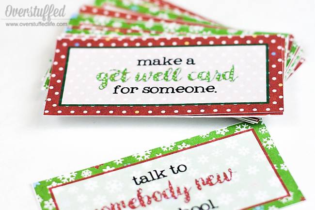 Do acts of service each day during December. Print out these adorable cards to put into your advent calendar that help you to do something kind each day.