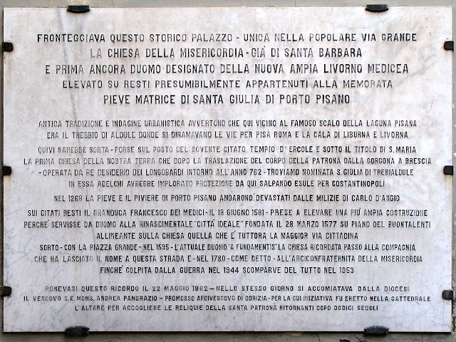 Commemorative marble plaque, Via Santa Barbara, Livorno