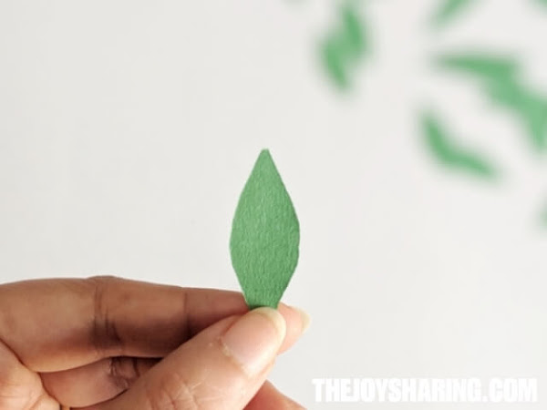 Cut out leaves to add to paper flower craft