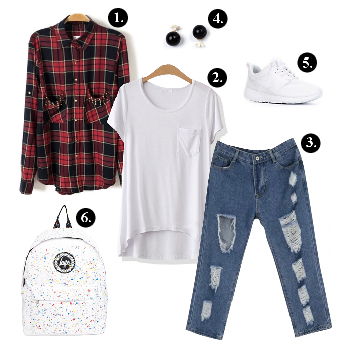 Back to school outfits, Back to school outfit ideas, Oasap Plaid Shirt, Oasap Loose T-Shirt, Oasap Jeans, GoJane Earrings, Nike Sneakers, Hype Backpack, backpacks, sneakers