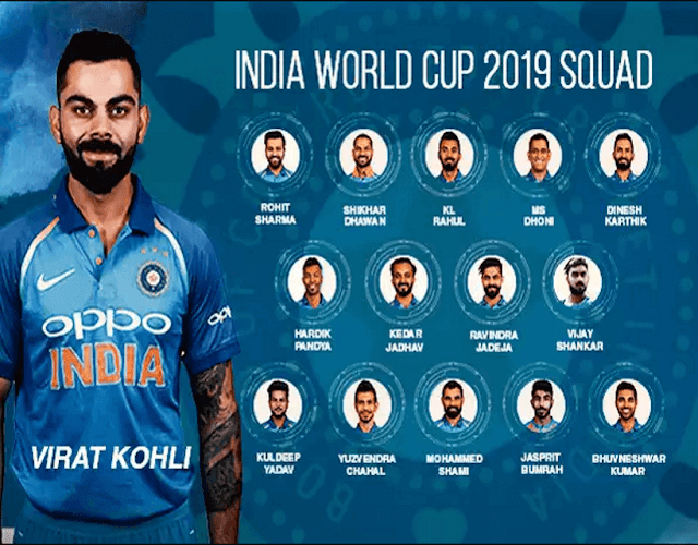 Indian's Squad For Cricket World Cup 2019
