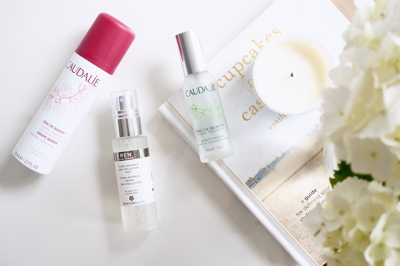 caudalie grape spray, ren flash defenc, beauty elixir