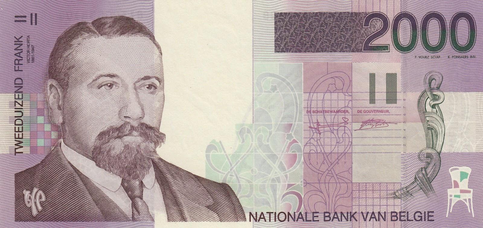 Belgium Banknotes 2000 Belgian Francs banknote 1994 Victor Horta