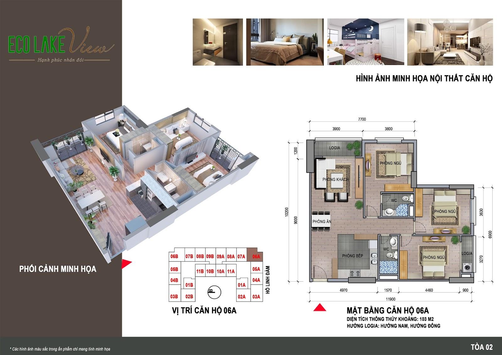 Thiết kế căn hộ 06A - 103m - HH02 Eco Lake View