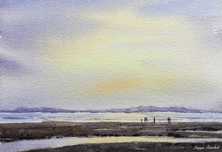 A water color painting of a sunset scene at Uttorda beach, Goa. By Manju Panchal