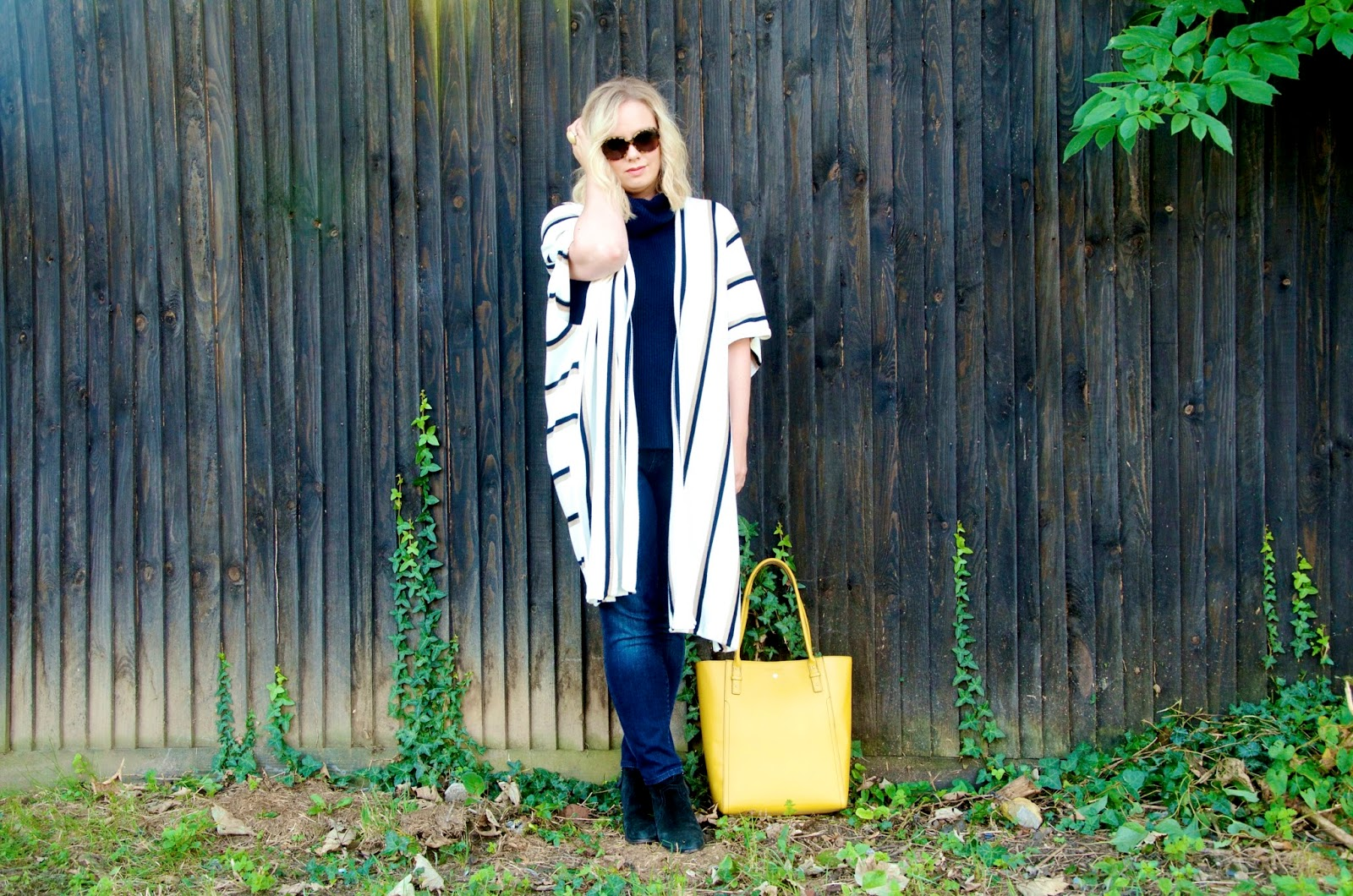 Long Striped Cardigan Yellow Bag Navy Turtleneck Sweater Jeans and yellow bag