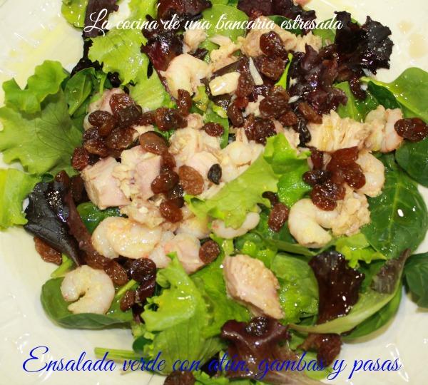 Receta de ensalada verde con gambas y atún