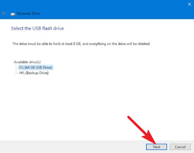 select the usb flash drive