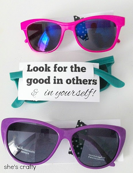 Girls Camp Handouts - gift ideas for Young Women Camp - sunglasses - Look for the the good in your self and in others