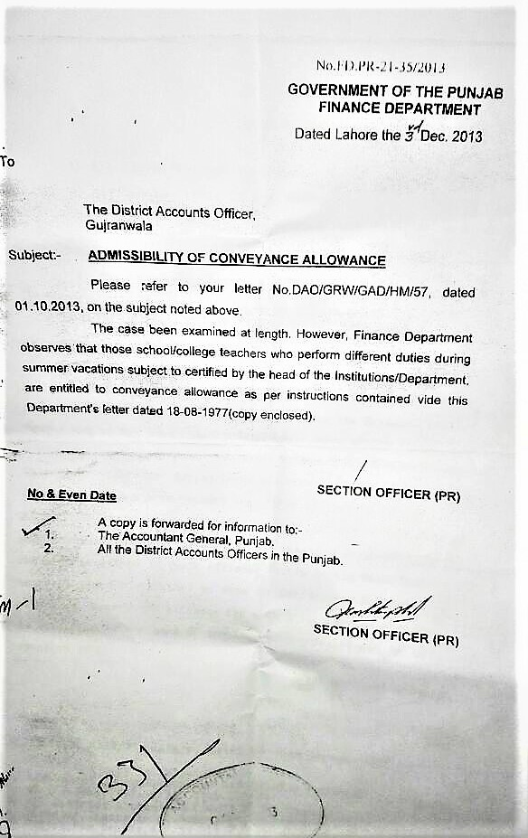 CLARIFICATION REGARDING ADMISSIBILITY OF CHARGE ALLOWANCE & CONVEYANCE ALLOWANCE DURING SUMMER VACATIONS