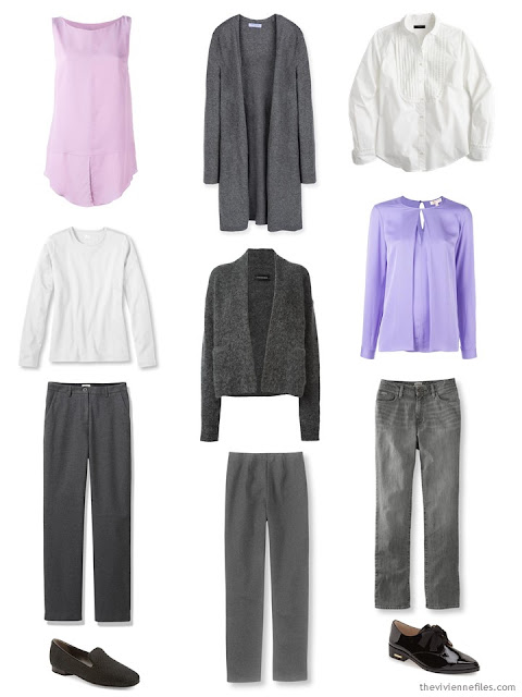 9-piece capsule wardrobe in grey, white, pink and purple