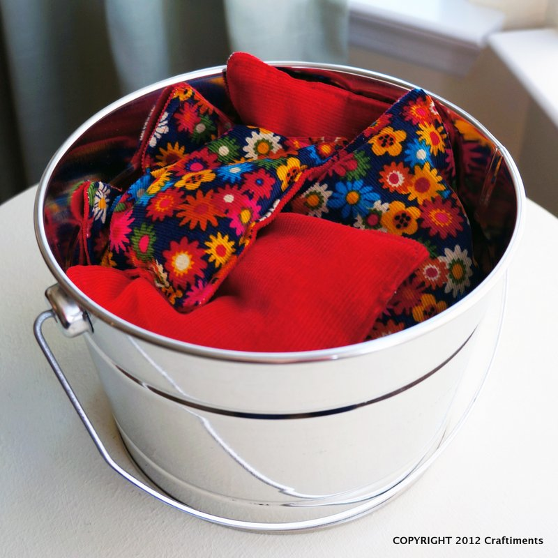 Craftiments:  Corduroy Bean Bags and Metal Pail