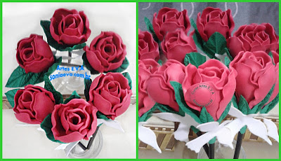Ponteira de caneta ou lápis botões de rosa em EVA