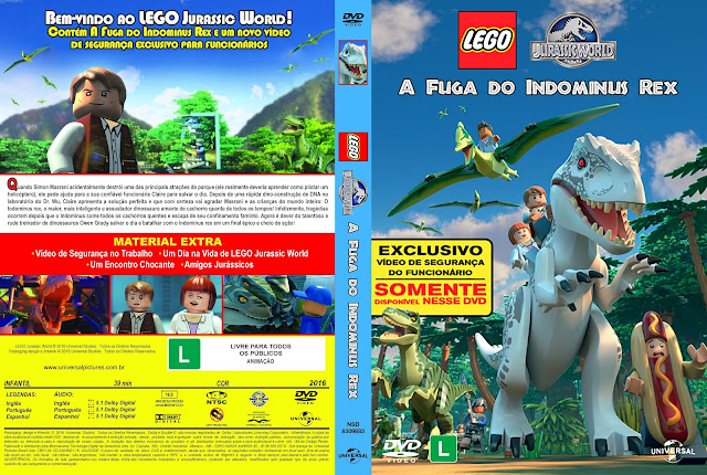 Capa DVD LEGO Jurassic World A Fuga Do Indominus Rex