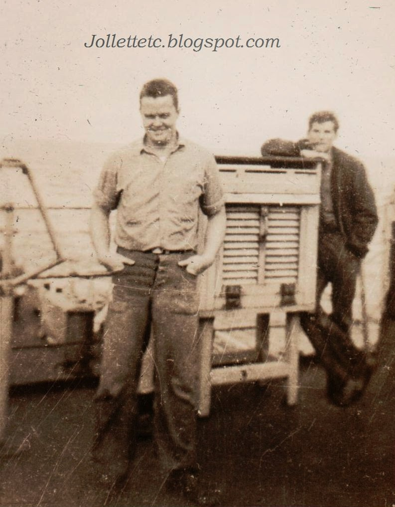 Unknown sailors on USCGC Eastwind 1946 or 47  http://jollettetc.blogspot.com