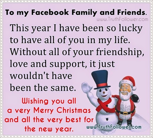 merry christmas to my facebook family and friends