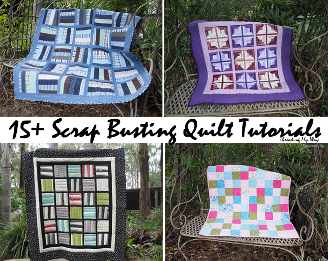 Free quilt tutorials - bust your scrap fabric stash - Threading My Way