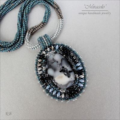 wisior z opalem dendrytowym. dendrite opal pendant