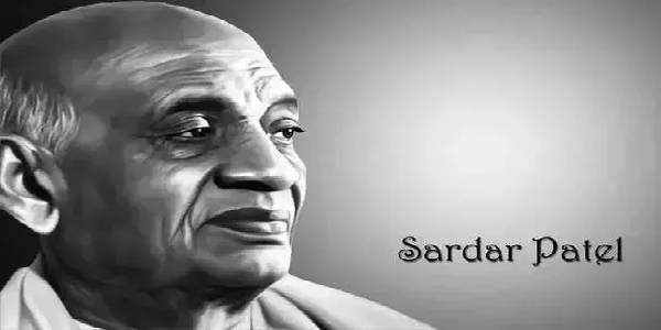 Image of Sardar Patel in black and white, with his name written in black.