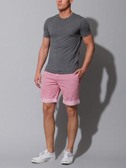 Look masculino bermuda rosa