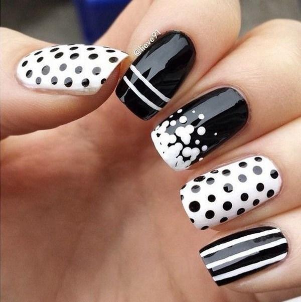 Polka Dots Nail Art - 8 Black And White Nail Art Design With Style Tips Art Designs And
