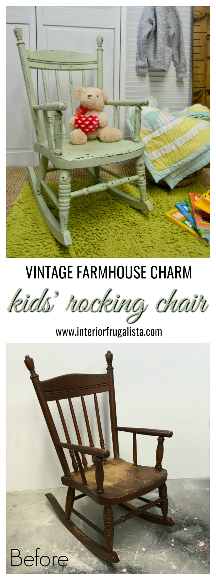 A rustic rocking chair makeover with farmhouse style for a child. It's a quick and easy upcycle for a solid wood vintage toddler rocker painted green. #woodenrockingchair #kidsrockingchair #childrensrockingchair #toddlerrockingchair