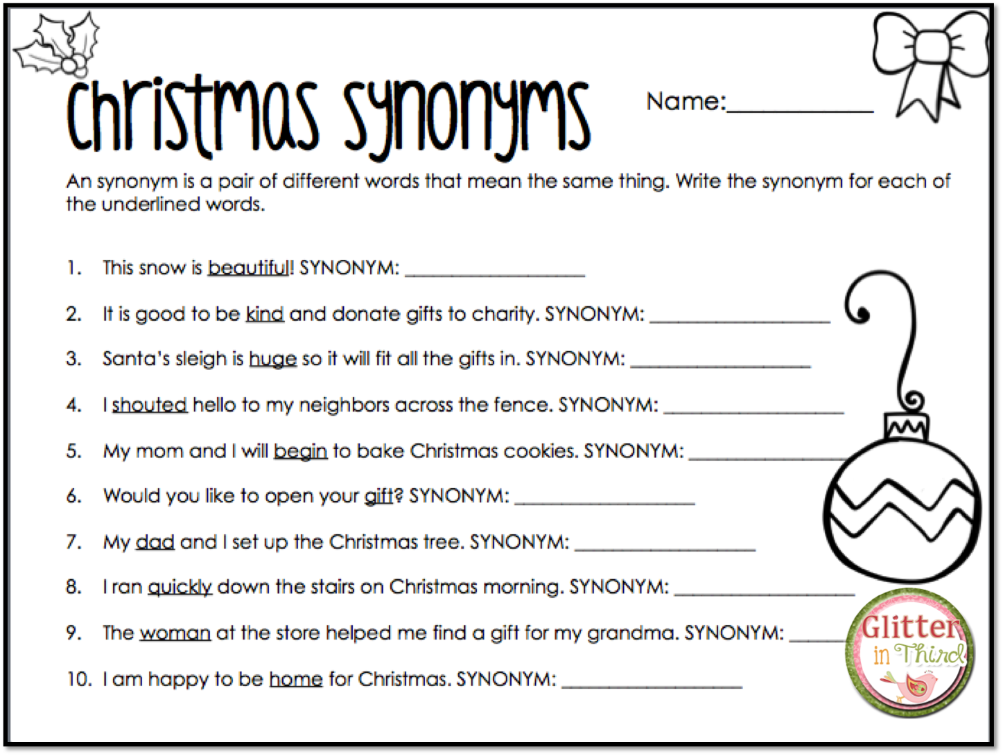 Christmas Synonyms Worksheet   Printable Worksheets and Activities for  Teachers [ 1091 x 1447 Pixel ]