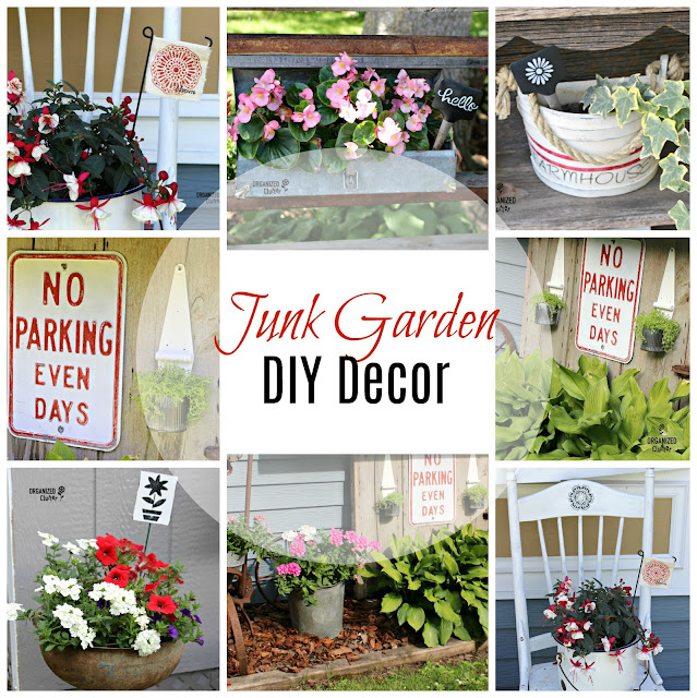 DIY Junk Garden Decor #upcycle #repurpose #stencil