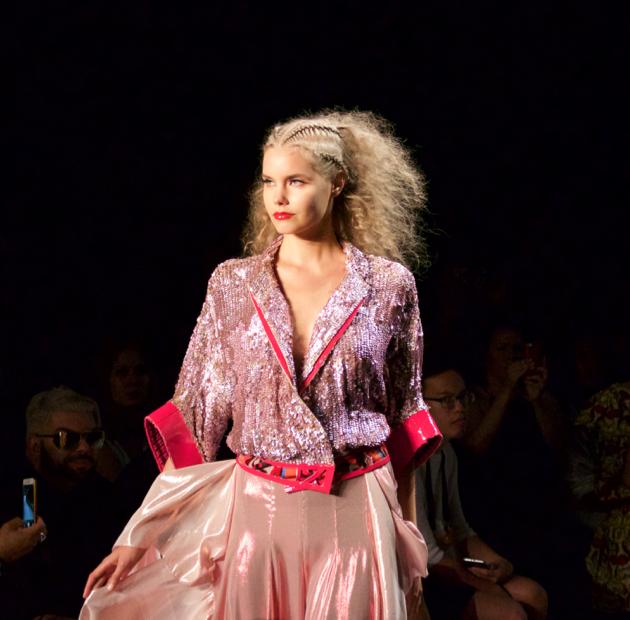 Son Jung Wan - Runway look, pink sequin jacket with pink satin voluminous skirt