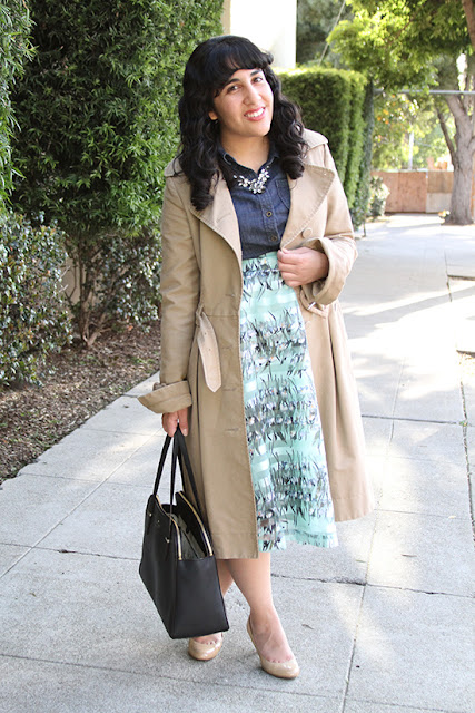 Trench Coat and JOA Striped Floral Skirt