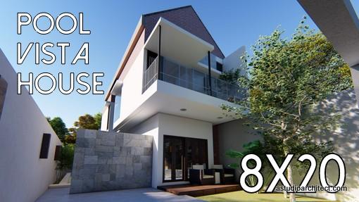 Desain Rumah Minimalis Luas 150m2  a desain rumah memanjang view kolam renang 8x20 kode 177