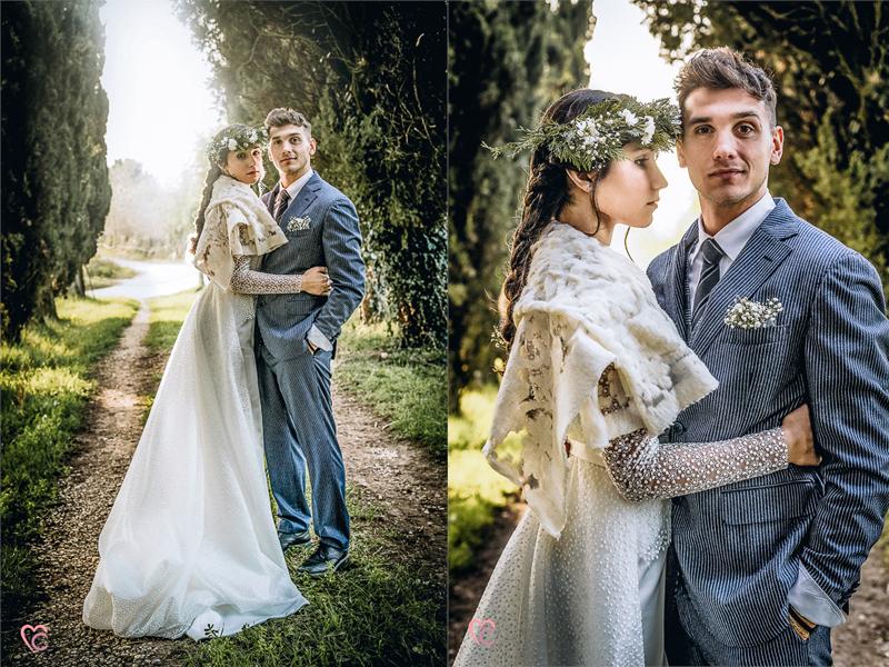 Winter elopement a Chieri in italia,in un viale di cipressi,bellisisma luce,bohobride