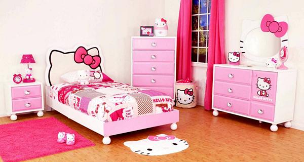 10 Model Tempat Tidur Minimalis Untuk Anak Perempuan Bertema Pink ! - Hello Kitty