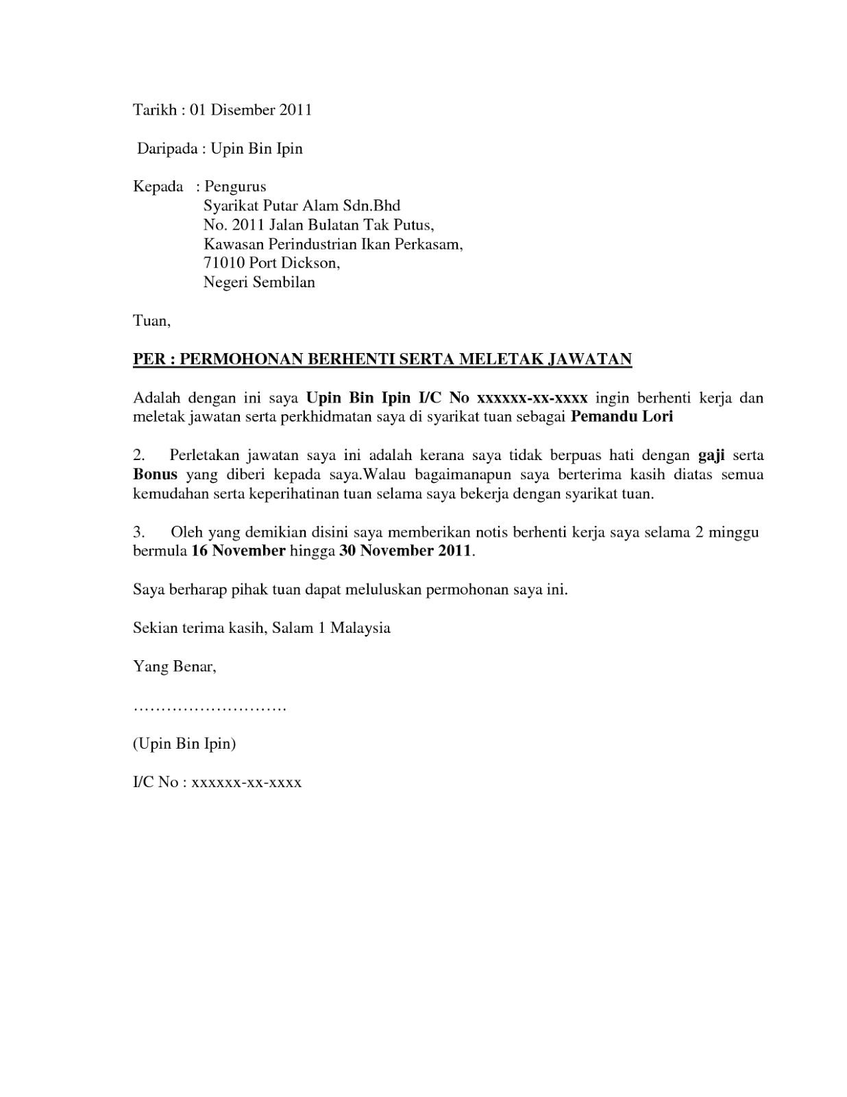 Contoh Surat Berhenti Kerja 24 Jam Kerajaan Contoh O Cute766