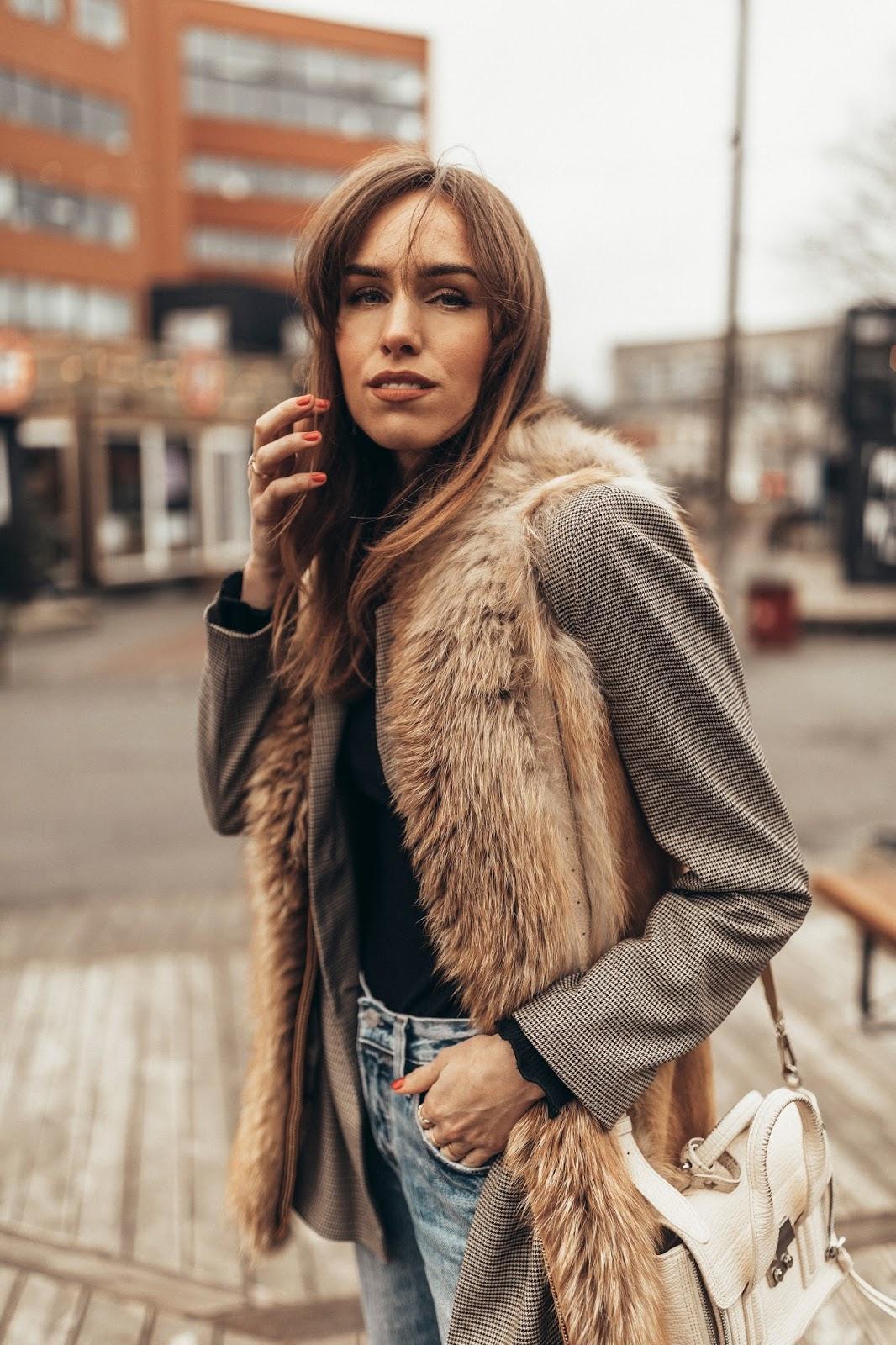 fur vest over blazer outfit